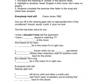 Song Worksheet: Everybody Hold Still by Grace Jones (Third Conditional)