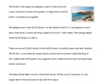 Reading Comprehension - The Pacific Ocean