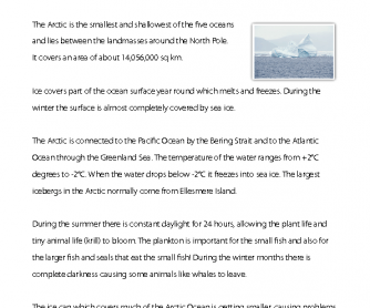 Reading Comprehension - The Arctic Ocean