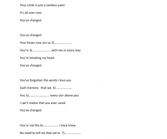 Song Worksheet: Eva Cassidy (The Present Perfect Tense)