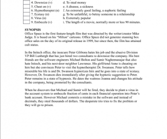 Movie Worksheet: Office Space
