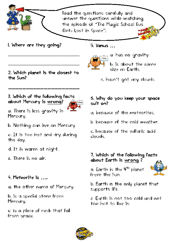 {Worksheet The Magic School Bus Gets Lost in Space – Magic School Bus Worksheets