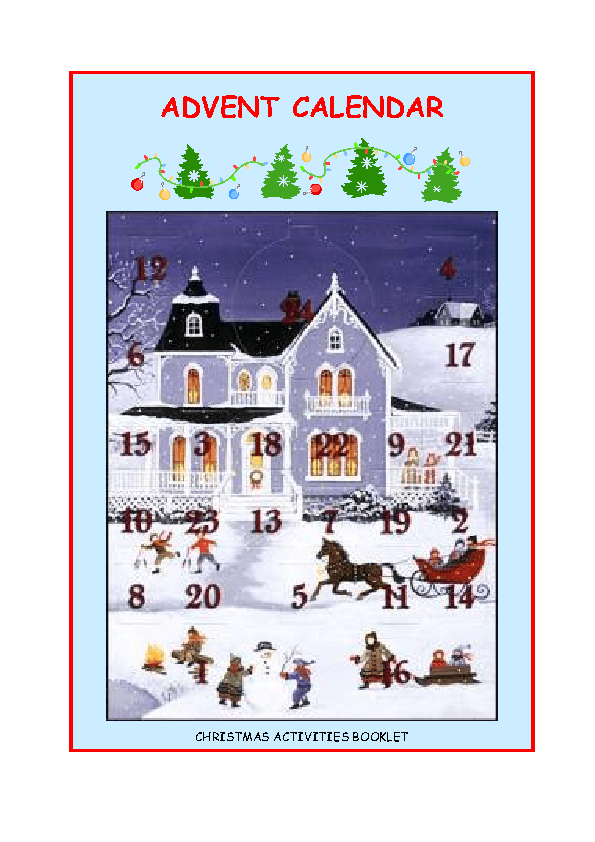 Advent Calendar Art Lesson : Advent calendar christmas activities