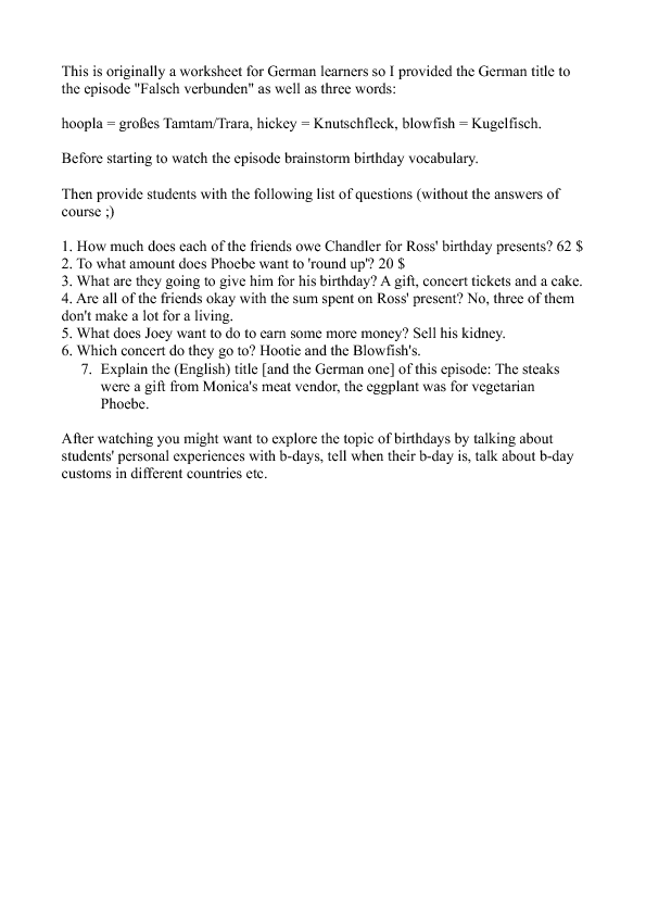 Worksheet Friends Season 2 Episode 5 Ross BParty – Brainstorm Worksheet