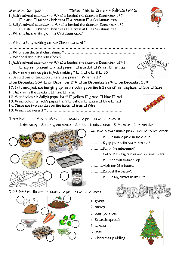 Worksheet Christmas in England – Free Christmas Worksheets