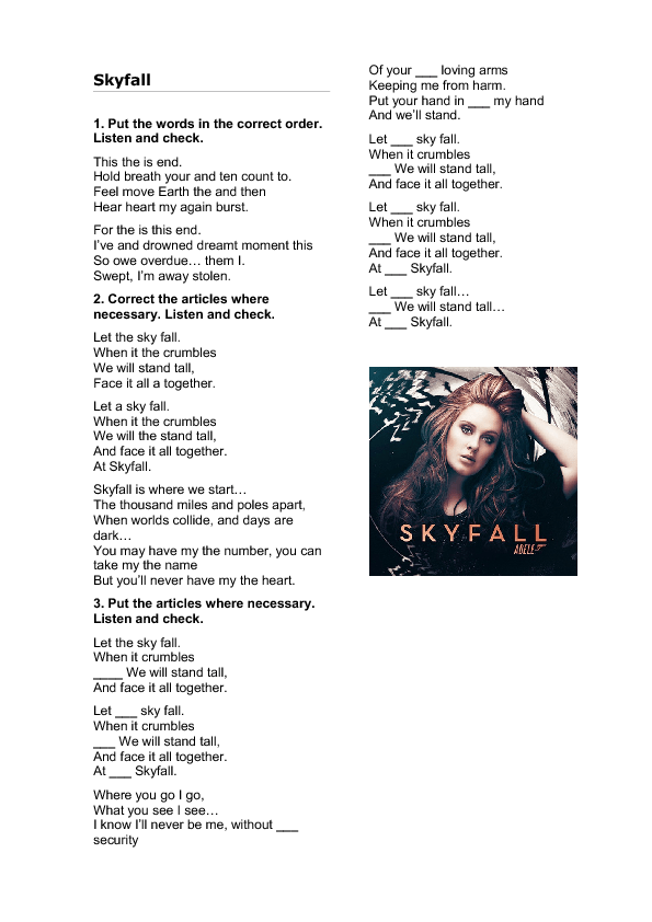 Song Worksheet: Skyfall