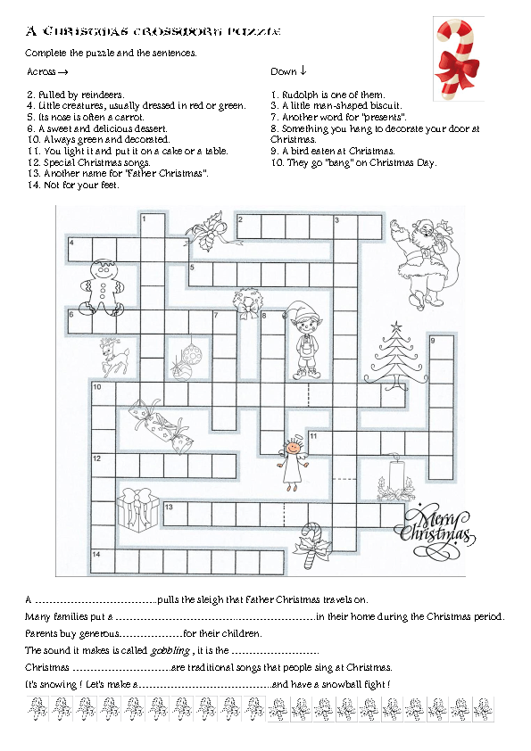 Modular Classroom Crossword ~ Christmas crossword puzzle