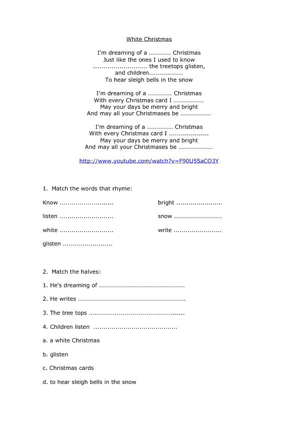 White Christmas Lyrics.Song Worksheet White Christmas