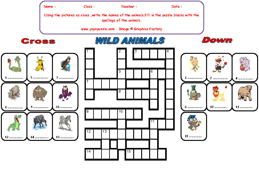 wild animals crossword puzzle. Black Bedroom Furniture Sets. Home Design Ideas