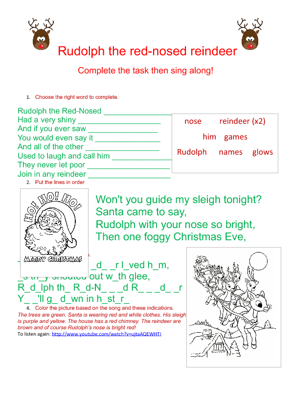 Song Worksheet Rudolph the RedNosed