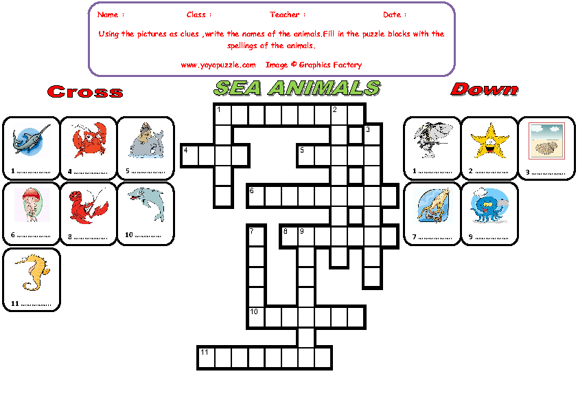 Sea Animals Crossword Puzzle