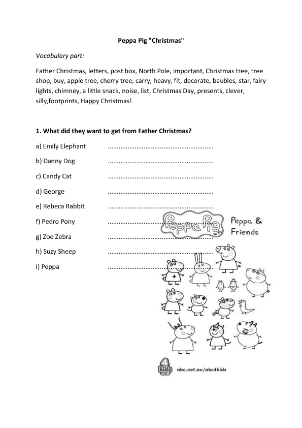 Movie Worksheet Peppa S Christmas Episode