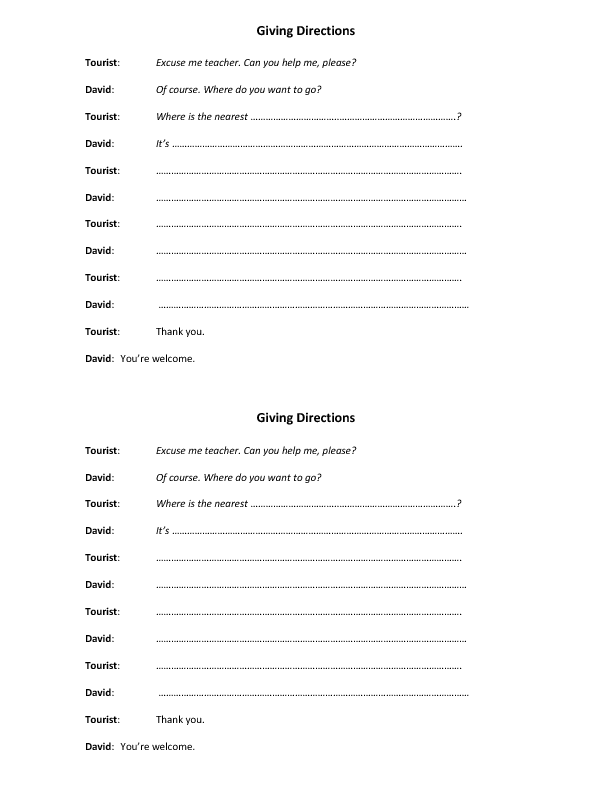 48 Free Directions Giving And Asking Worksheets