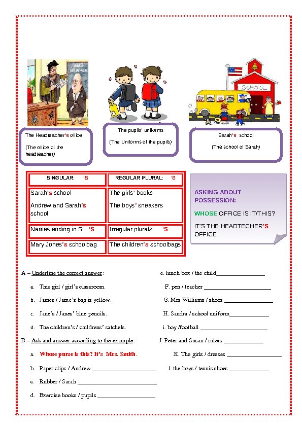 plural and possessive nouns worksheet
