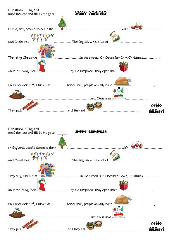 English Holiday Homework Worksheets