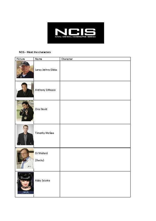 Movie Worksheet NCIS Bee