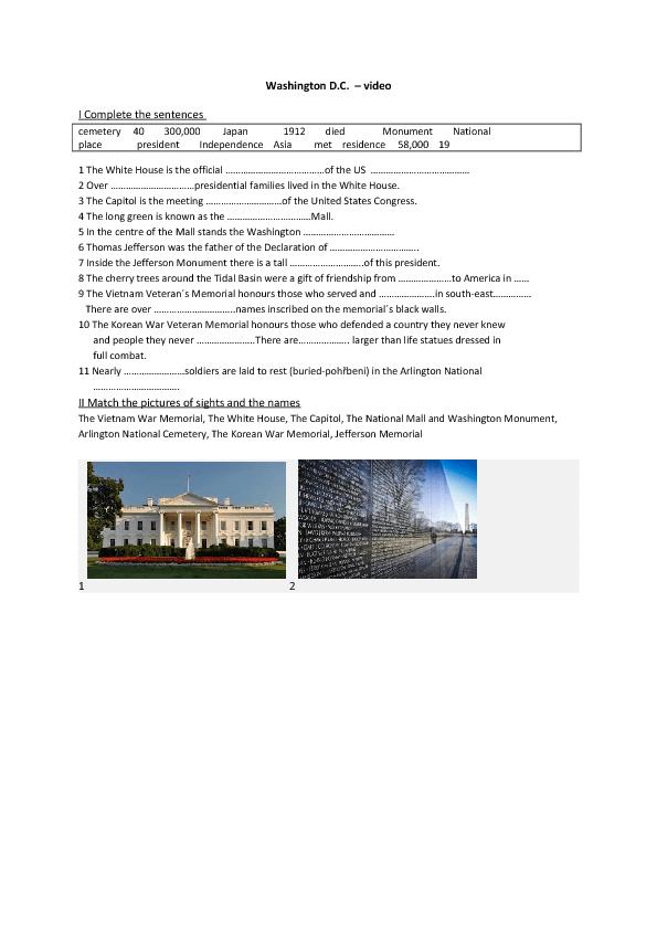 Worksheet Washington D C Sights – Vietnam War Worksheets