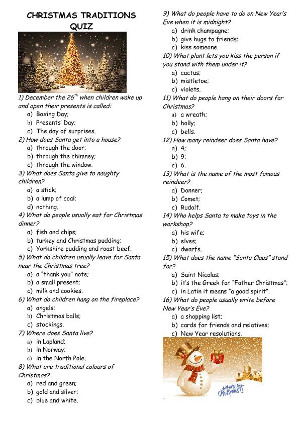 Traditions Quiz
