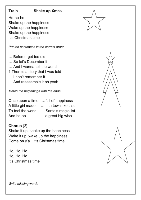 Song Worksheet Shake Up Christmas By Train