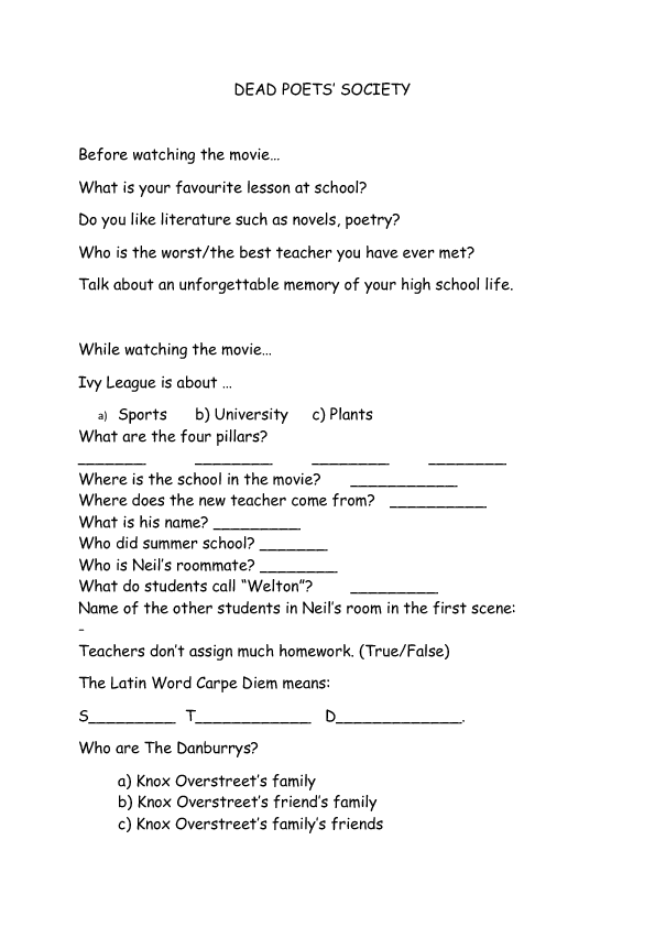 Worksheet Dead Poets Society – Dead Poets Society Worksheet