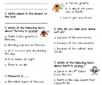 Movie Worksheet: The Magic School Bus Gets Lost in Space