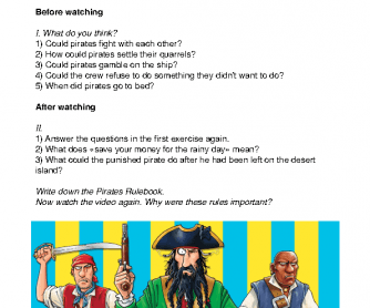 Movie Worksheet: Putrid Pirates - The Pirate Rulebook Worksheet
