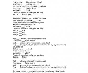 Song Worksheet: Back in the USSR