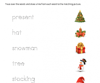 Christmas Worksheet - Matching Words and Pictures