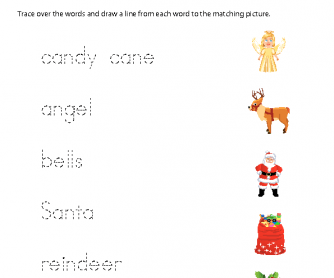Christmas Worksheet - Matching Words and Pictures (2)