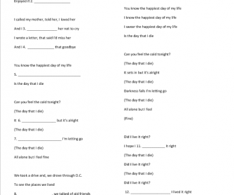 Song Worksheet: The Day That I Die by Good Charlotte + Speaking about Death
