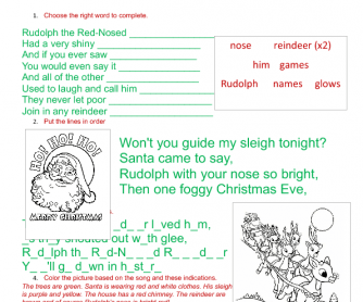 Song Worksheet: Rudolph the Red-Nosed Reindeer