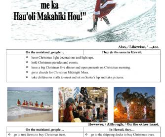 Christmas in Hawaii+ Song Worksheet