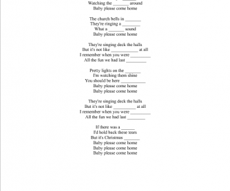 Song Worksheet: Christmas, Baby, Please Come Home