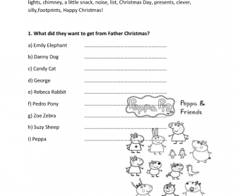 Movie Worksheet: Peppa's Christmas Episode