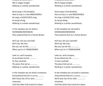 Song Worksheet: Walking in the Winter Wonderland