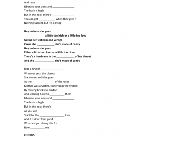Song Worksheet: Candy by Robbie Williams