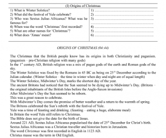 Movie Worksheet: Origins of Christmas