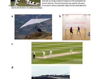 4 Sports - Squash, Cricket, Gliding, and Hang Gliding
