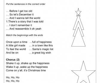 Song Worksheet: Shake Up Christmas by Train
