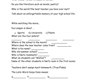Movie Worksheet: Dead Poet's Society