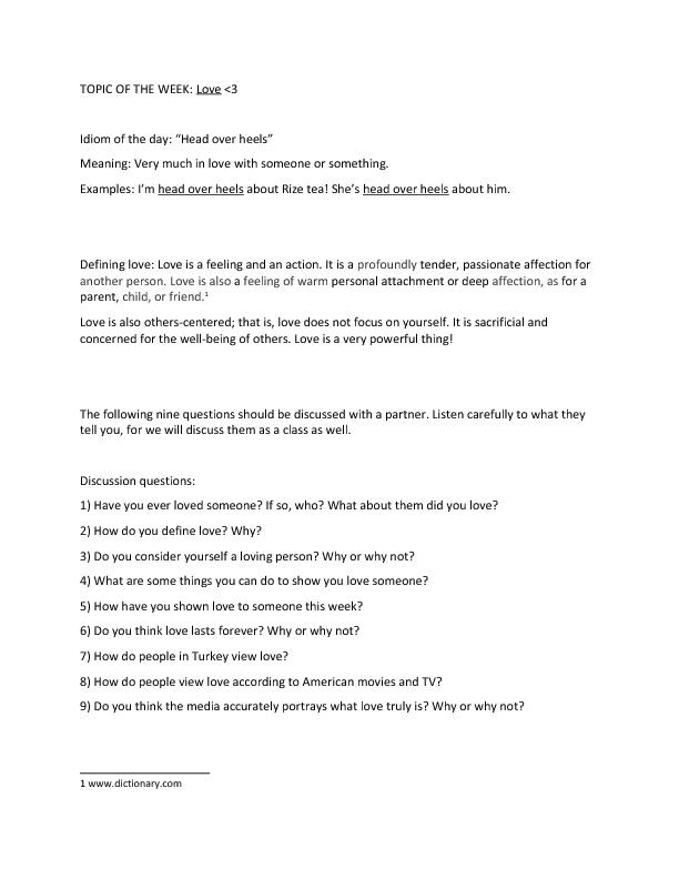 Is Love – What is Worksheet