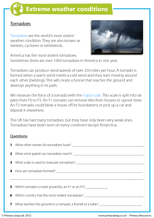 Reading Comprehension Tornadoes