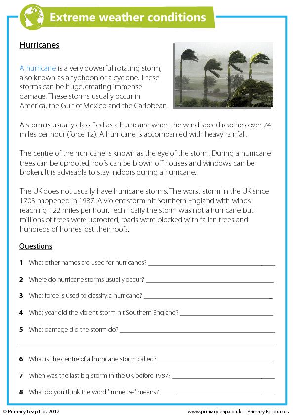 Reading Comprehension Hurricanes