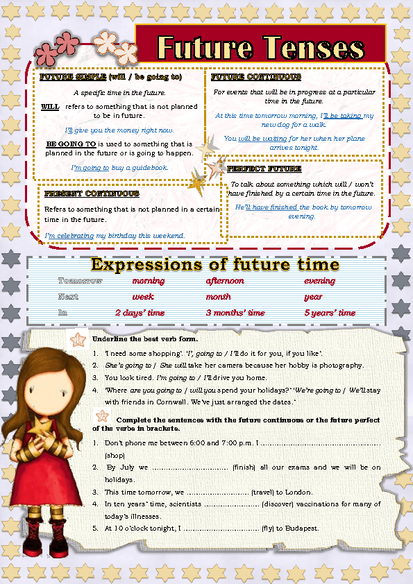 30 FREE Future Perfect Worksheets – Future Tense Worksheets