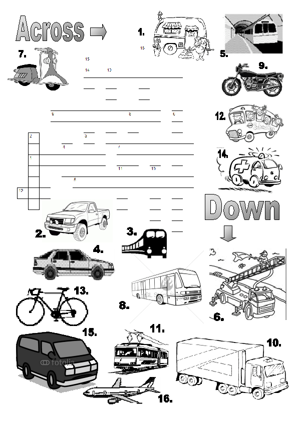 Means of Transport (Crossword Puzzle)
