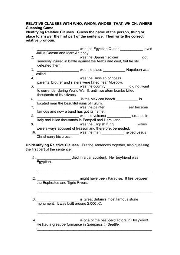 93 FREE Defining - Non defining Clauses Worksheets