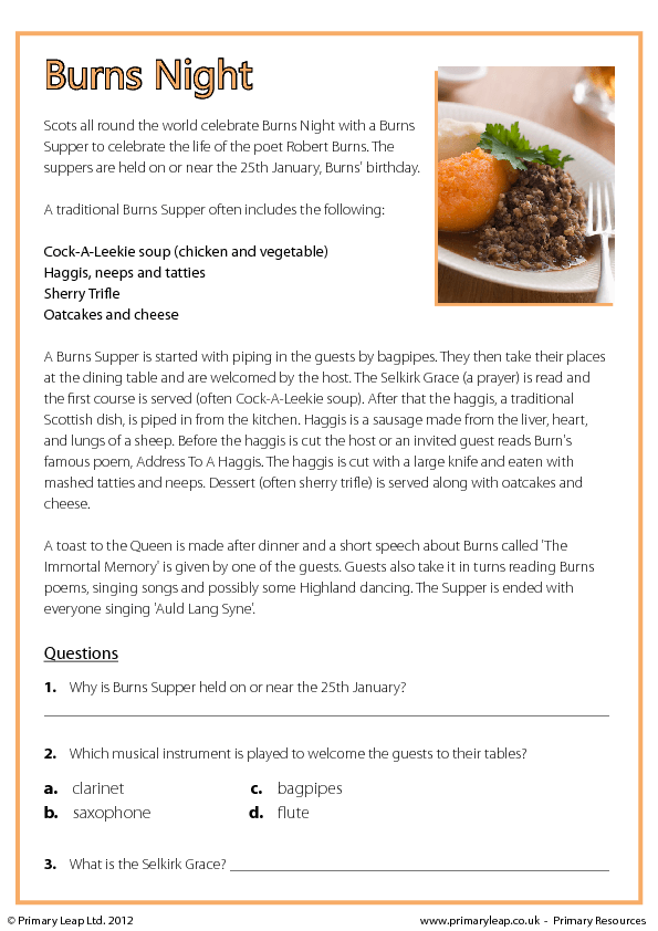 Comprehension Burns Night – Reading a Recipe Worksheet