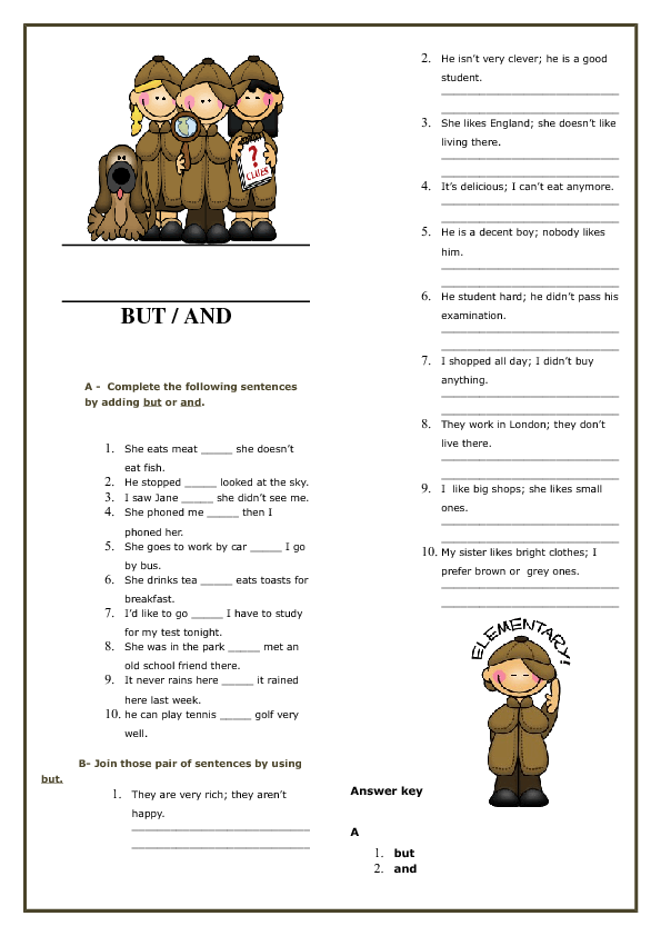 And But Elementary Worksheet – Conjunctions Worksheets