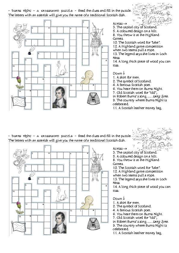 Modular Classroom Crossword ~ Burns night crossword puzzle