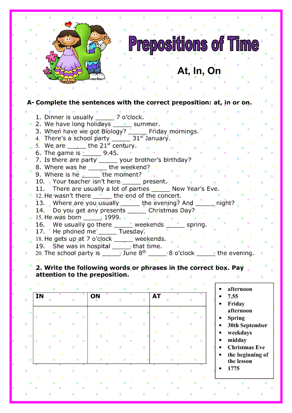 at in on prepositions of time elementary worksheet. Black Bedroom Furniture Sets. Home Design Ideas